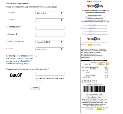 "Toys ""R"" Us Customer Satisfaction Survey CA$500"
