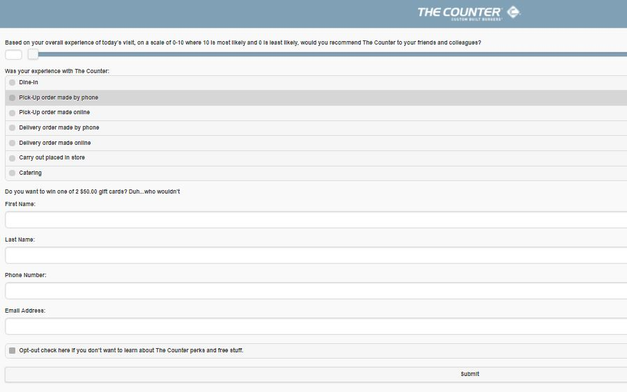 The Counter Customer Satisfaction Survey