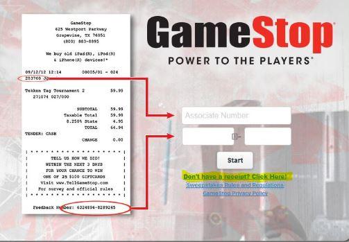 www.tellgamestop.com GameStop Customer Experience Survey $100