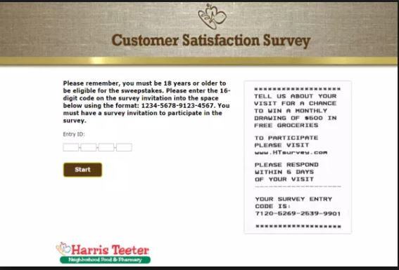 the Harris Teeter Customer Satisfaction Survey