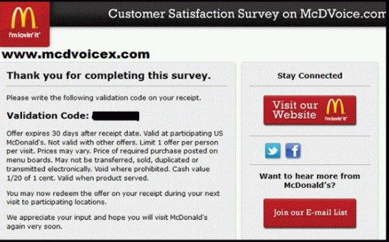 McDonald Customer Satisfaction Survey Feedback
