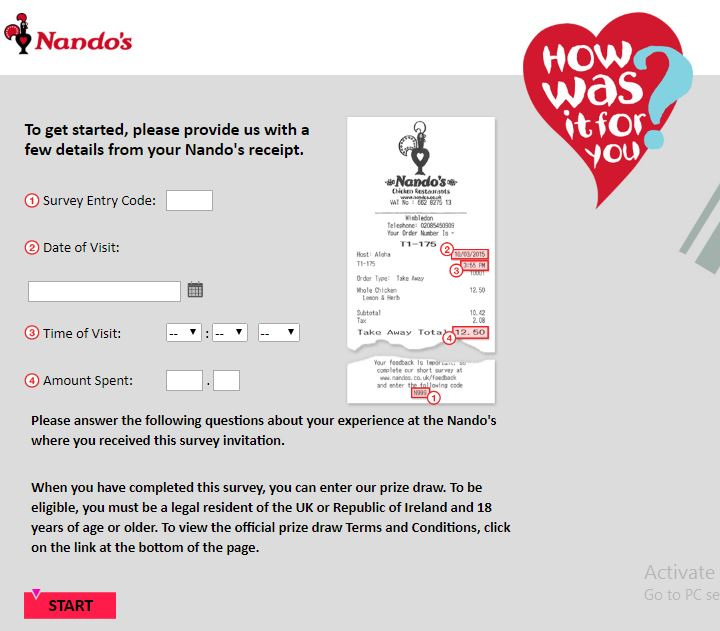 Nando's Survey: Nando's Customer Satisfaction Survey