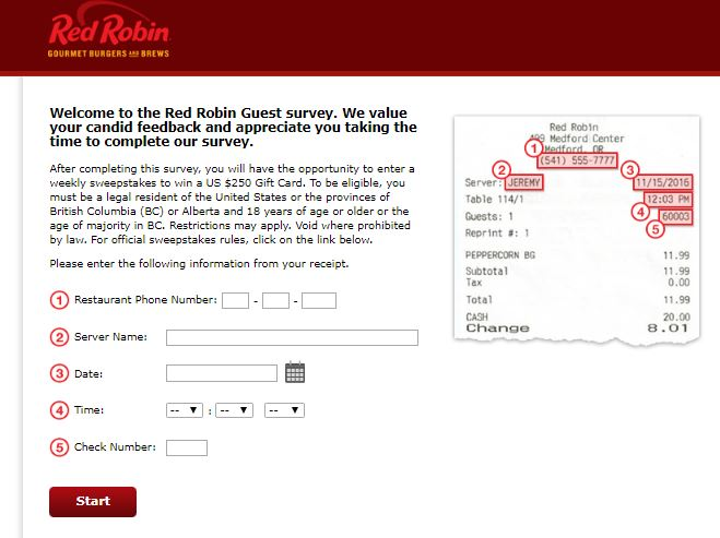 Red Robin Customer Feedback Survey