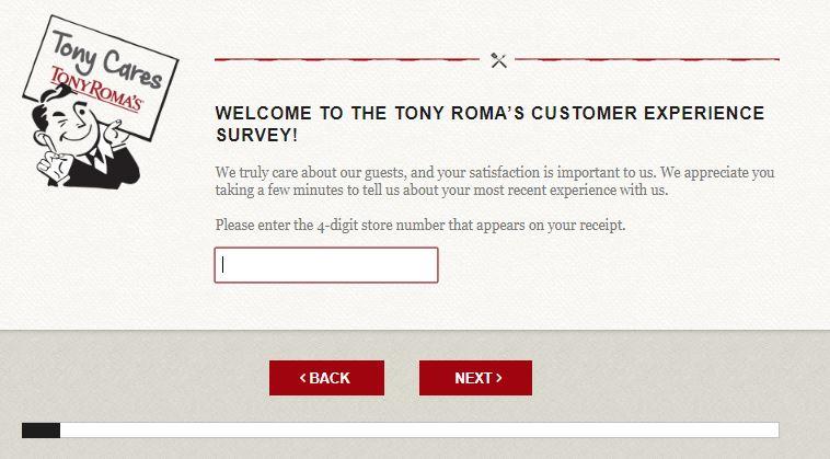Tony Roma's Customer Experience Survey