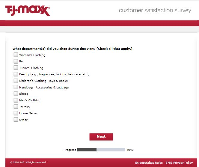 T.J.Maxx Customer Satisfaction Survey at www.tjmaxxfeedback.com