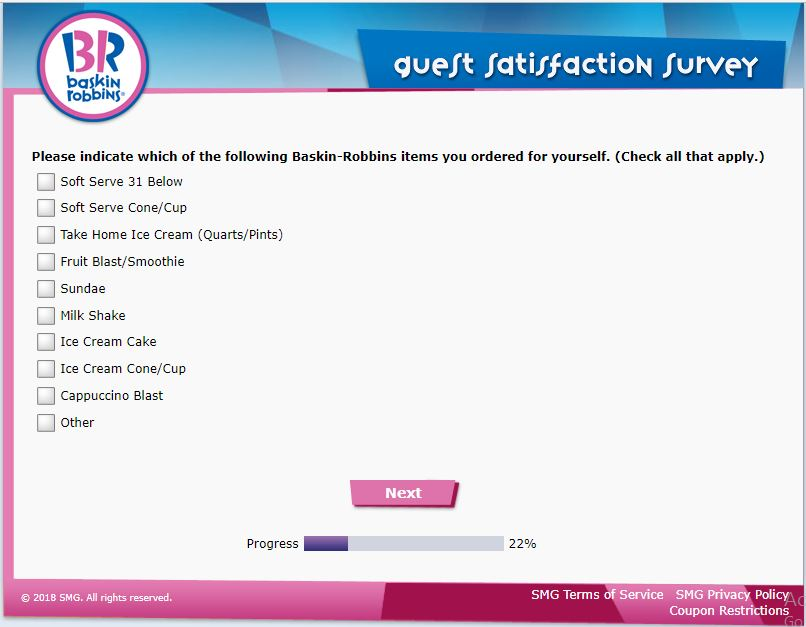 Baskin-Robbins Customer Satisfaction Survey,