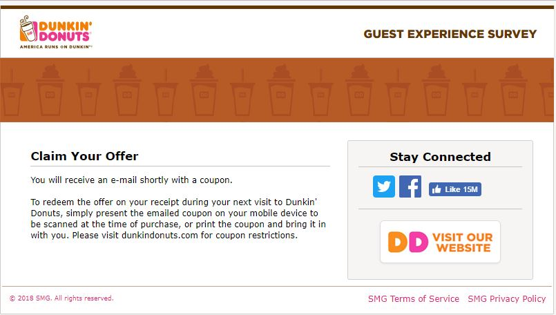dunkin donuts customer survey