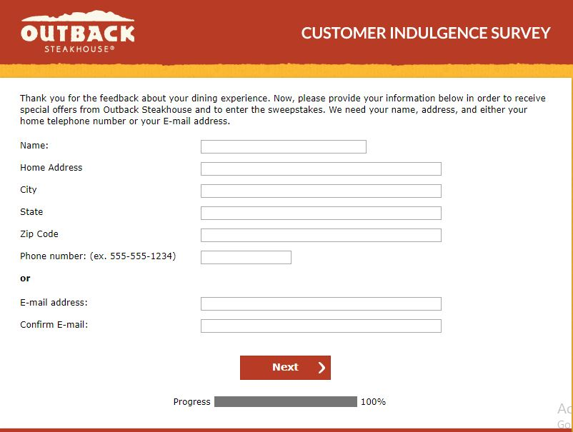 outback steakhouse customer survey