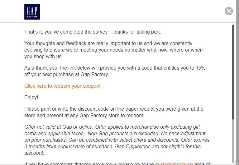 gap factory customer service