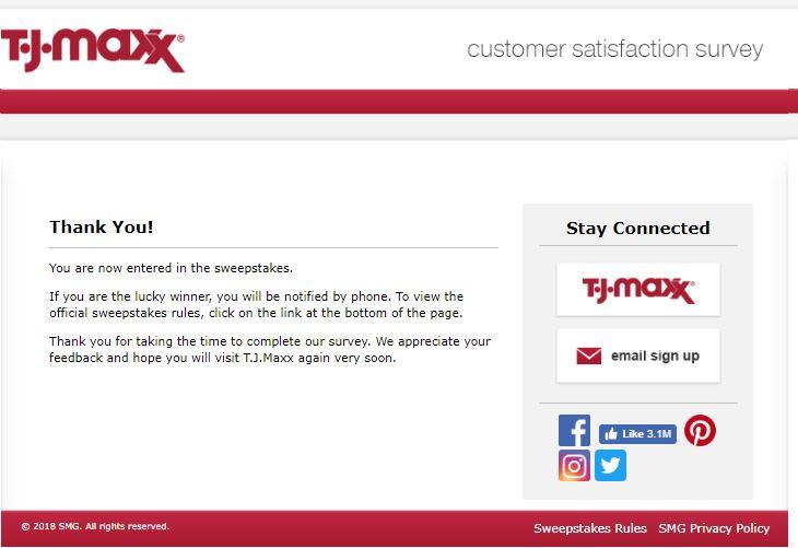 tj maxx survey winners