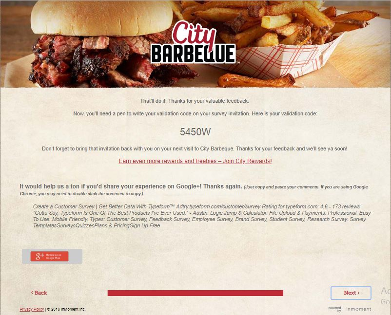City Barbeque Customer Satisfaction Survey
