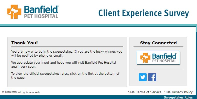 Tell Banfield Pet Hospital Feedback in Client Experience Survey .