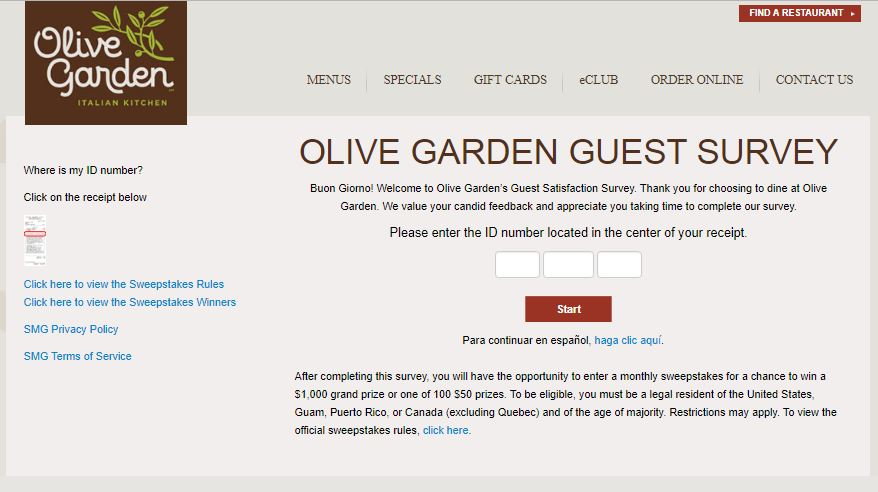 olive garden to go survey