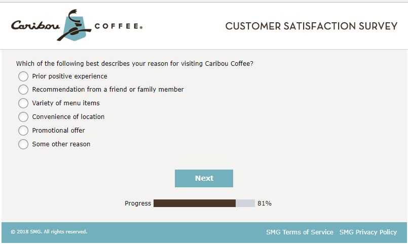 caribou coffee login