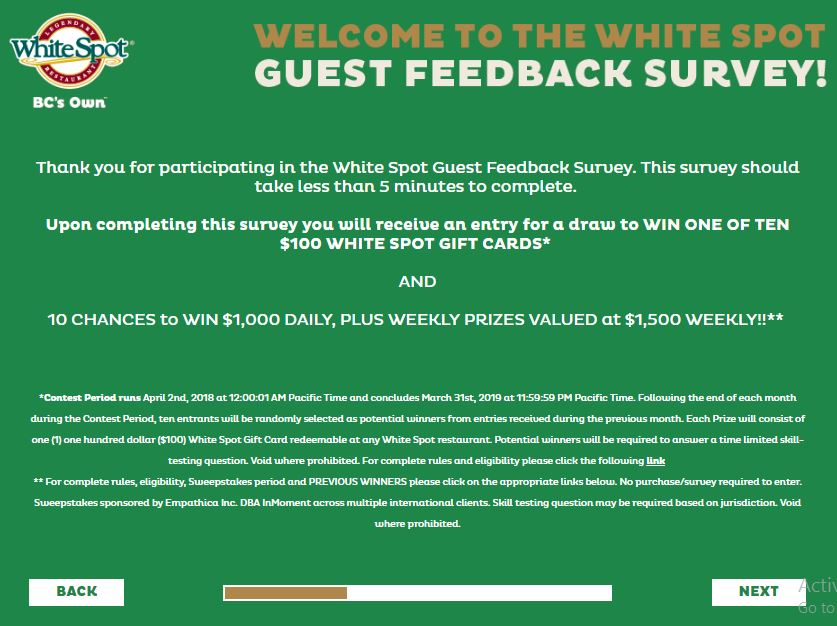 Talk to White Spot Guest Feedback Survey Sweeps | SweepstakesBible