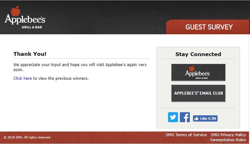 Applebee's Guest Experience Survey, www.myapplebeesvisit.com ...