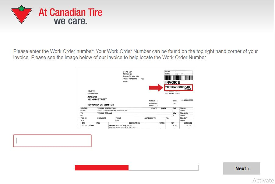 canadian tire survey contest