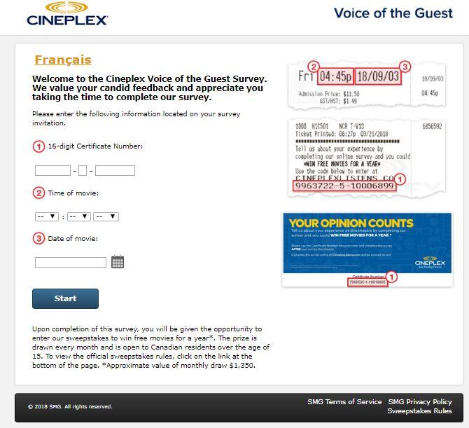 cineplex survey