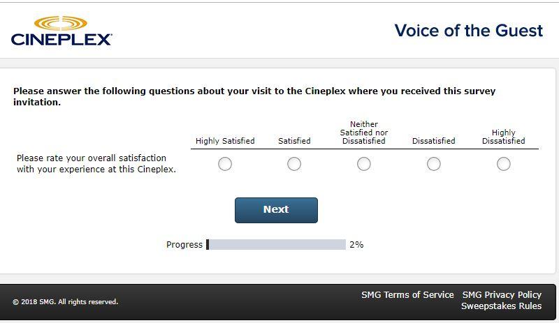 cineplex online survey
