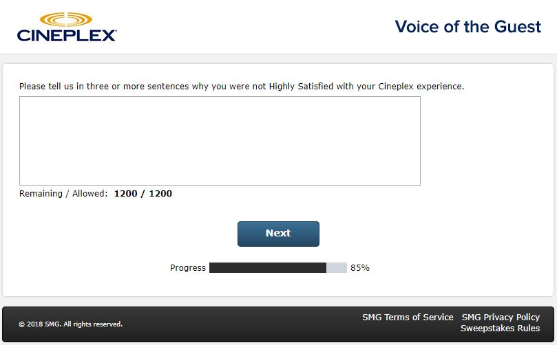 cineplex customer feedback