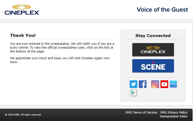 www.cineplexsurvey.com Cineplex Entertainment Customer ...