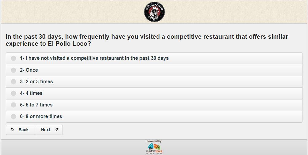 El Pollo Loco Guest Survey