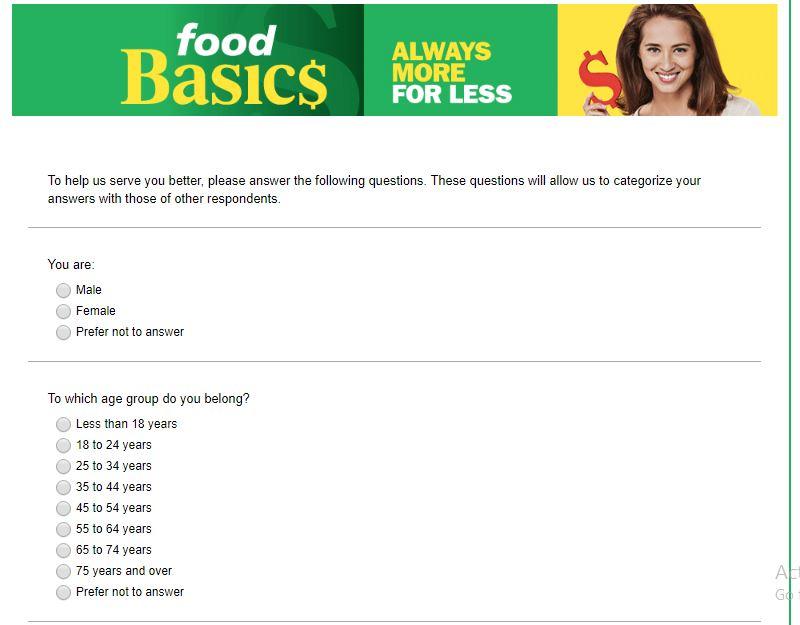 Food Basics Customer Feedback Survey
