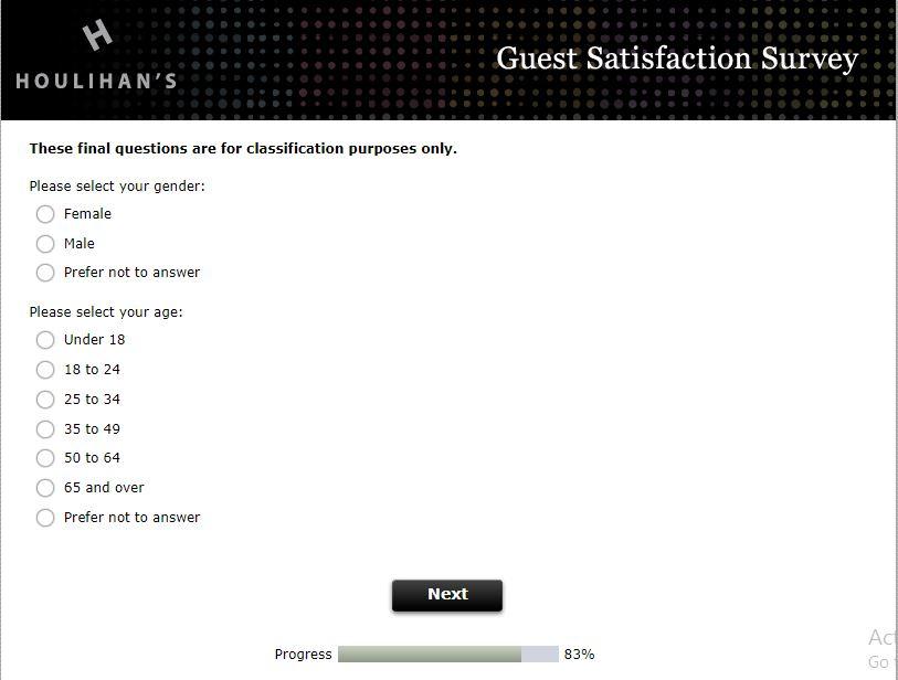 Houlihan's Guest Satisfaction Survey