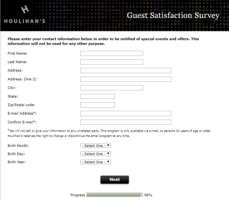 Houlihan's Guest Satisfaction Survey - Customer Survey and ...