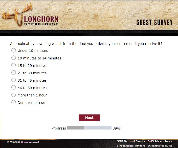 longhorn steakhouse Feedback