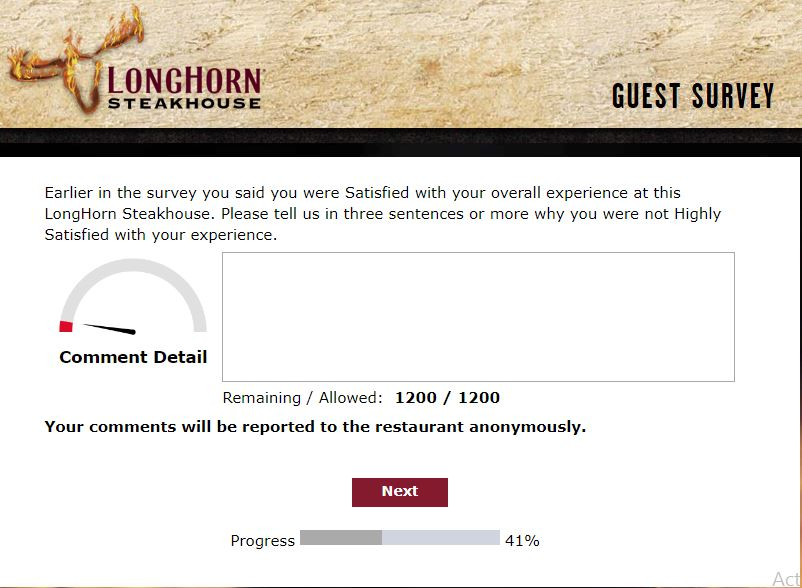 longhorn steakhouse offers