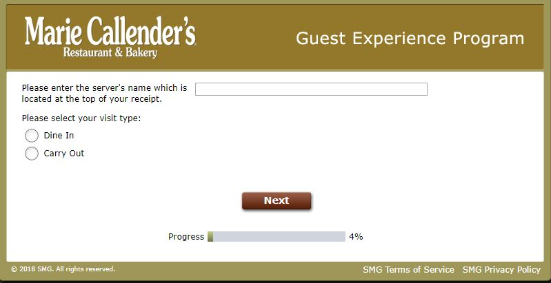 Survey Rules - Marie Callender's Restaurant & Bakery