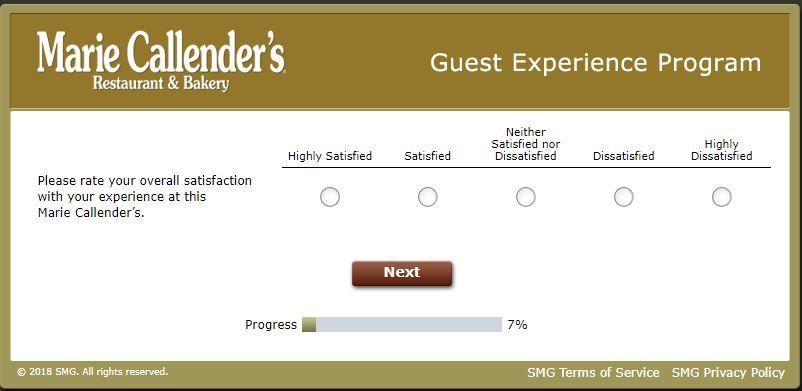 Marie Callender's Guest Experience Survey