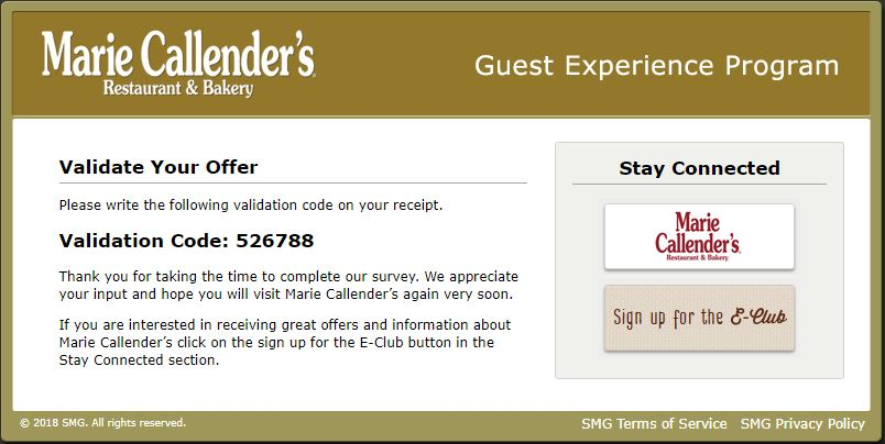 Marie Callender's Experience Survey: Win Validation Code