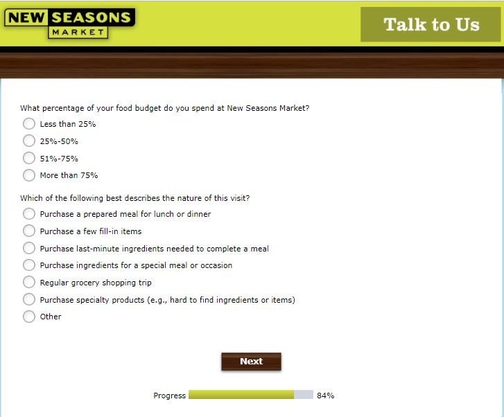 New Seasons Market Customer Satisfaction Survey
