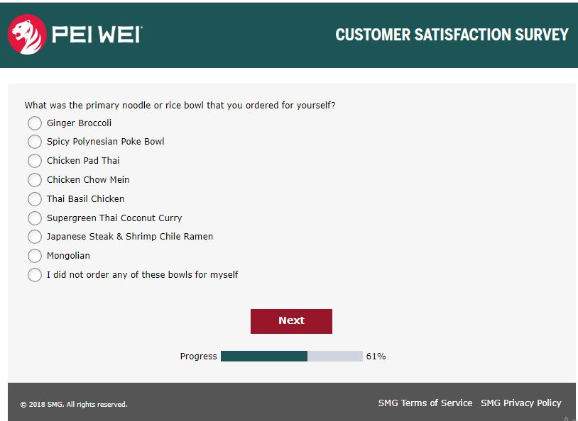 Pei Wei Customer Satisfaction Survey