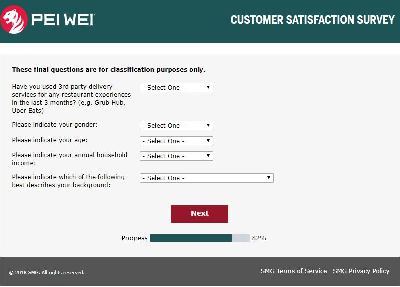 Pei Wei Feedback - At www.peiweifeedback.com - Survey Reviews