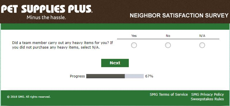 Pet Supplies Plus Neighbor Satisfaction Survey