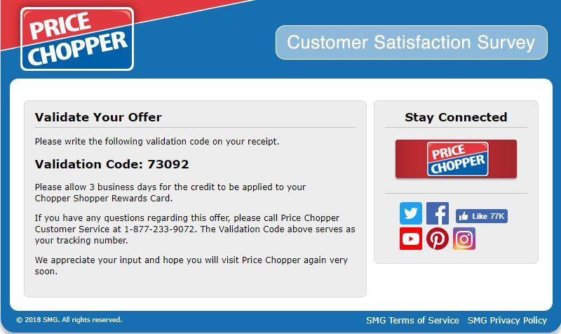 Price Chopper Customer satisfaction survey