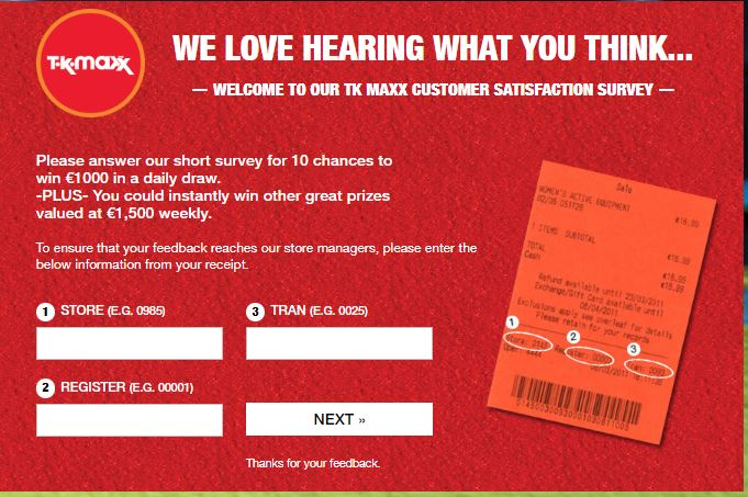 tk maxx customer care survey