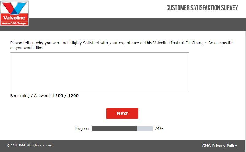 Valvoline Customer Satisfaction Survey