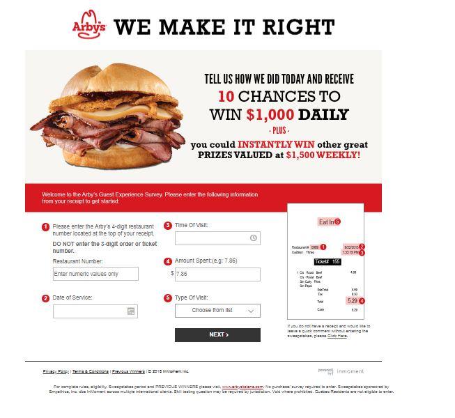 arbys.com survey site