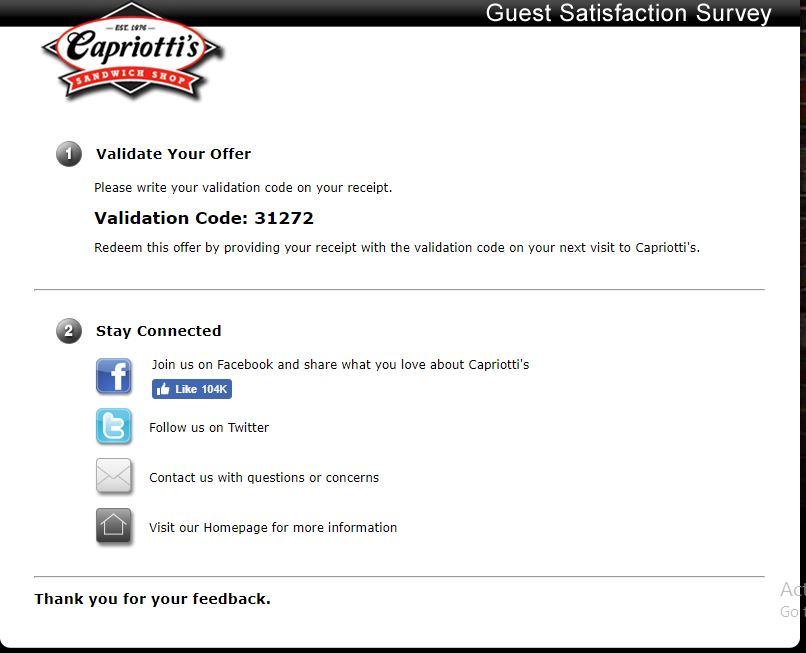 Visit Tellcapriottis.com - Capriotti's Guest Satisfaction Survey