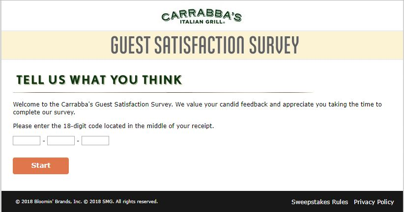 carrabba's customer survey