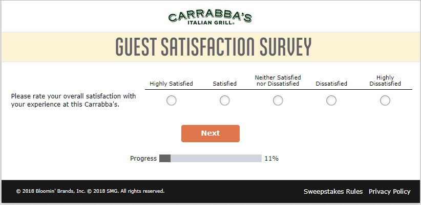 carrabba's restaurant survey