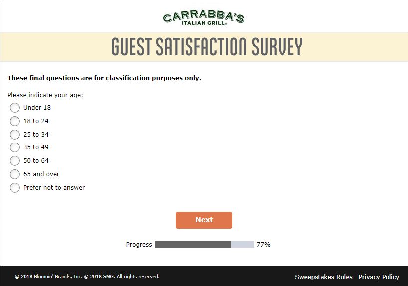 www.TellCarrabbas.com - Carrabba's Guest Satisfaction Survey