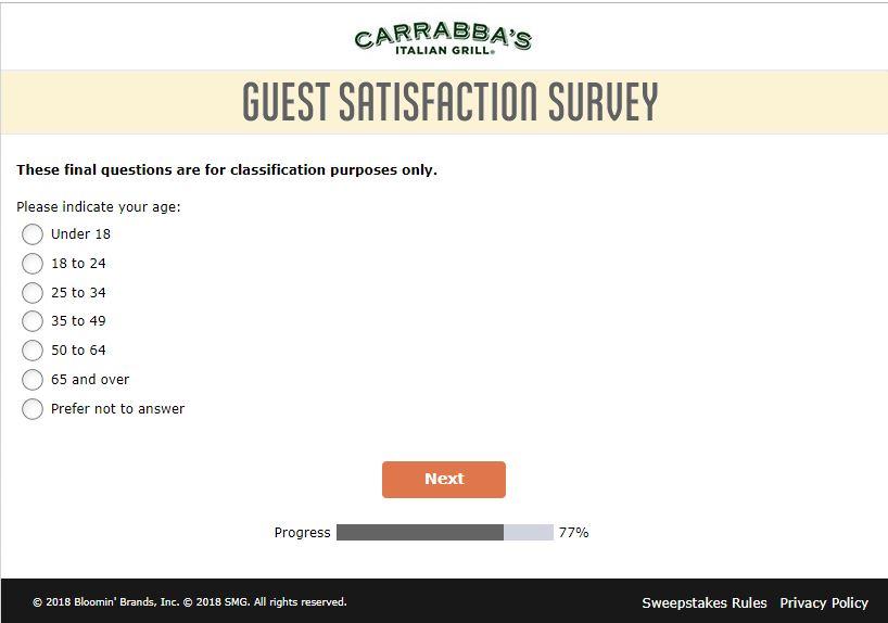www.TellCarrabbas.com - Carrabba's Guest Satisfaction Survey