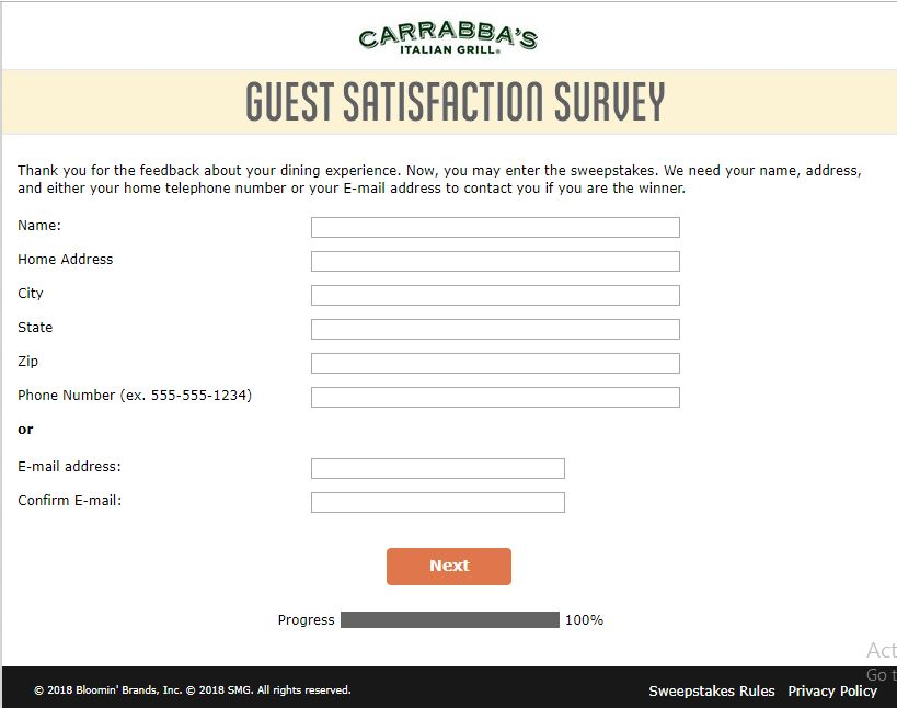 Carrabba's Listens Guest Satisfaction Survey