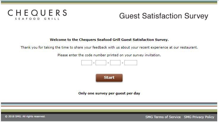 Chequers Seafood Grill Guest Satisfaction Survey