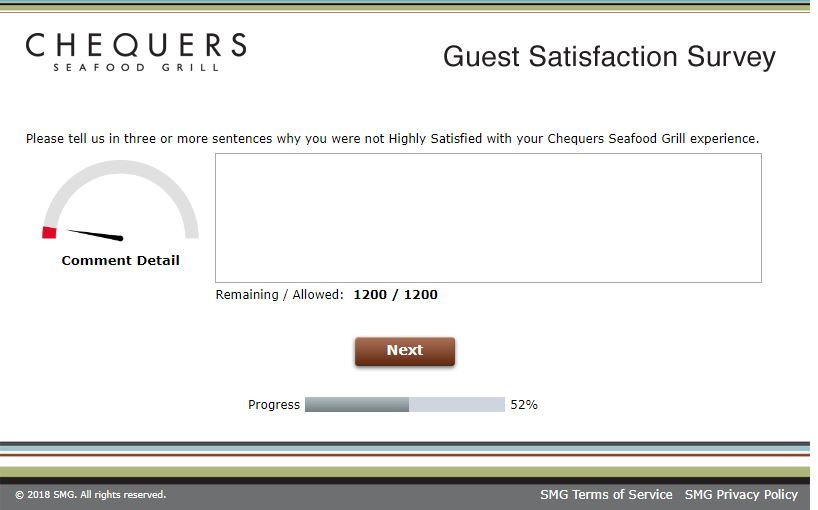 Chequers Seafood Grill Feedback Survey: Win a Validation Code ...
